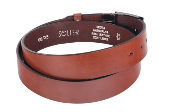 Elegant dark brown leather belt SOLIER SB12