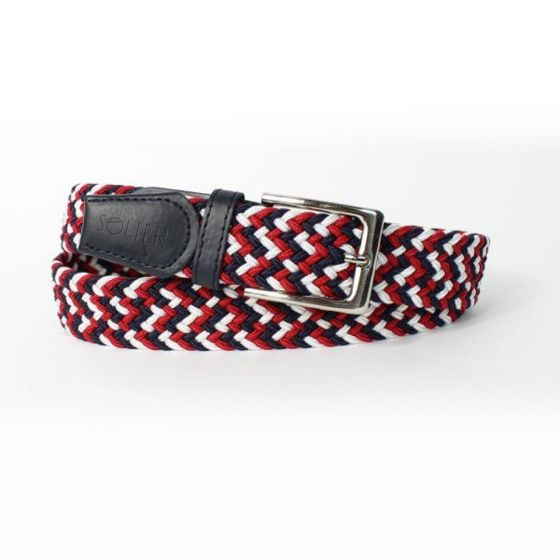 Elegant, woven belt for man SOLIER SB07 black-red-white