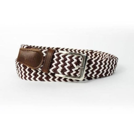 Elegant, woven belt for man SOLIER SB07 brown-and-white