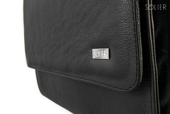 Genuine leather conference folder Solier SA01 OBAN black