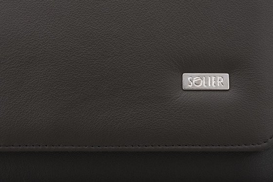 Genuine leather conference folder Solier SA01 OBAN brown