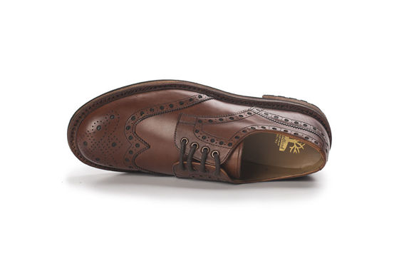Genuine leather elegant Brogue Shoes Goodyear Welted brown