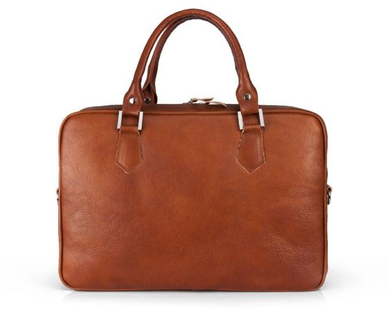 Genuine leather laptop bag Solier SL22 Kingston vintage brown
