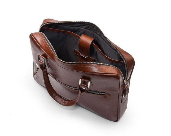 Genuine leather laptop bag with luggage holder Solier SL23 Easton
