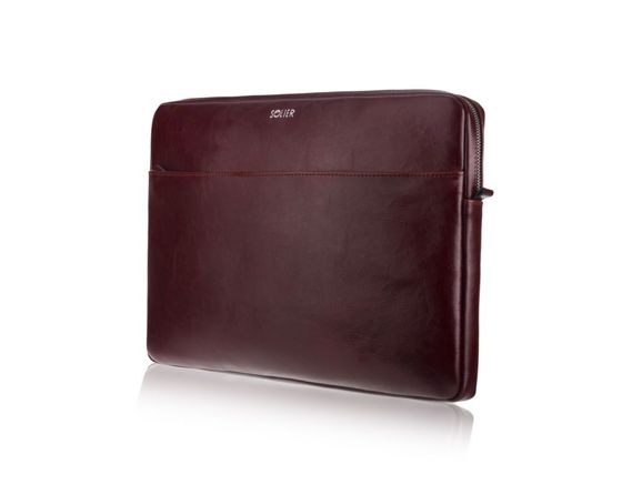 Genuine leather laptop case 13' Solier Burgundy