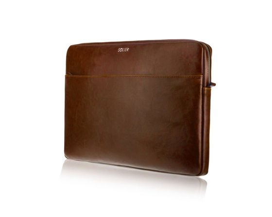 Genuine leather laptop case 13' Solier Vintage Brown