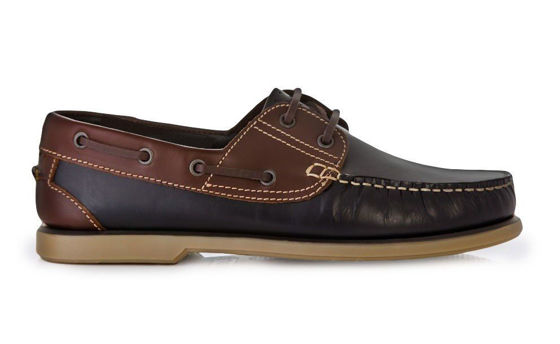 Genuine leather men's brown moccasins boat shoes navy