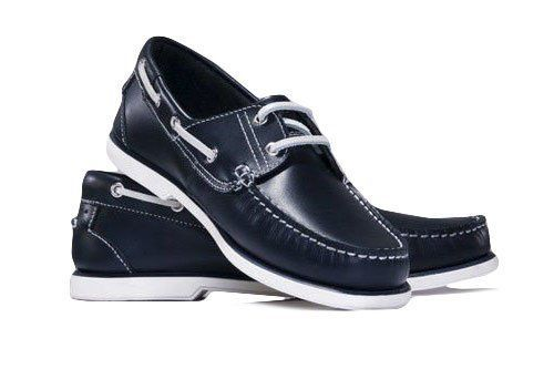 Genuine leather men's navy moccasins boat shoes