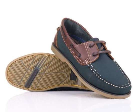 Genuine leather men's navy moccasins boat shoes navy