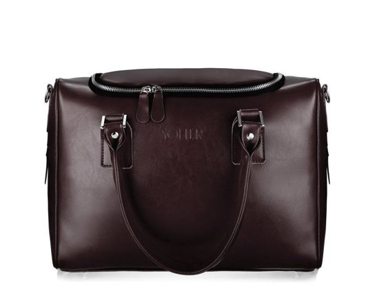Genuine leather weekend bag Dratford SL27 dark brown