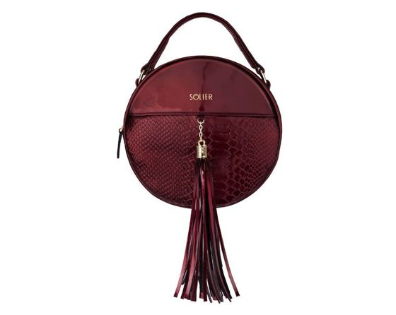 Genuine leather woman's crossbody Lauren FL17 burgundy