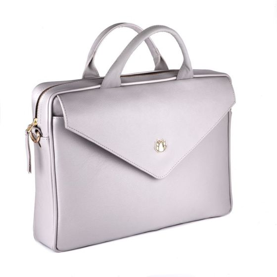 Genuine leather woman's laptop bag FL15 Positano light grey