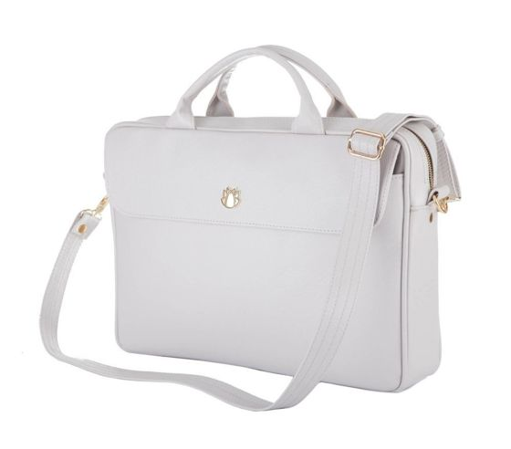 Genuine leather woman's laptop bag FL16 Sorrento light grey