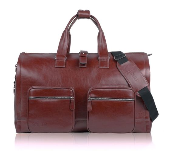 Leather men's bag for a brown suit SL18 Harlow burgundy