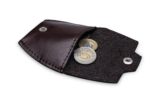 Leather men's coin wallet SOLIER SA10 BROWN/MAROON