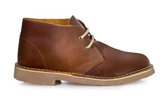 Leather men's shoes Chukka brown