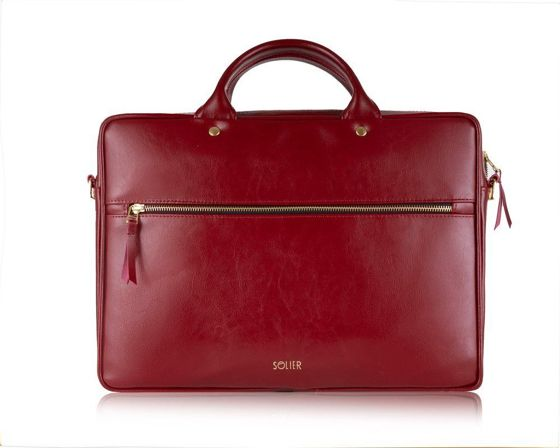 Leather woman's laptop bag FL15 Positano deep red