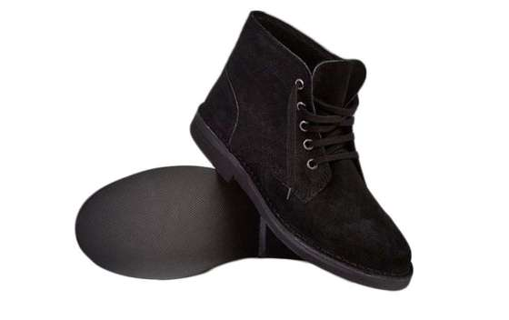 Men's stylish leather Chukka shoes boots black M468AS
