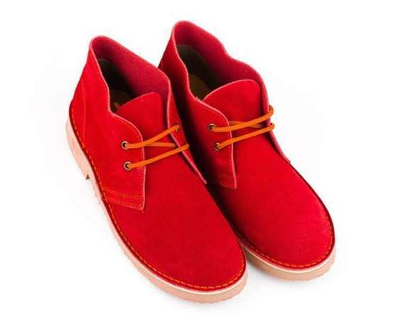 Men's stylish leather Chukka shoes boots red