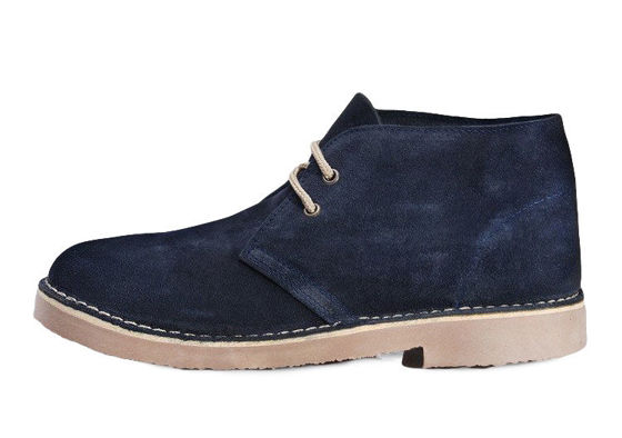 Men's stylish leather suede Chukka shoes/boots navy