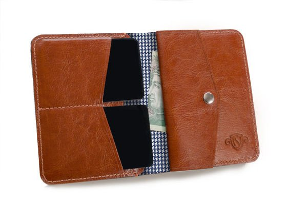 Personal genuine leather slim wallet with lining SW15A