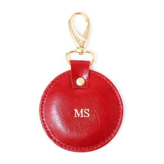 Personalised leather key ring Solier SA27 red