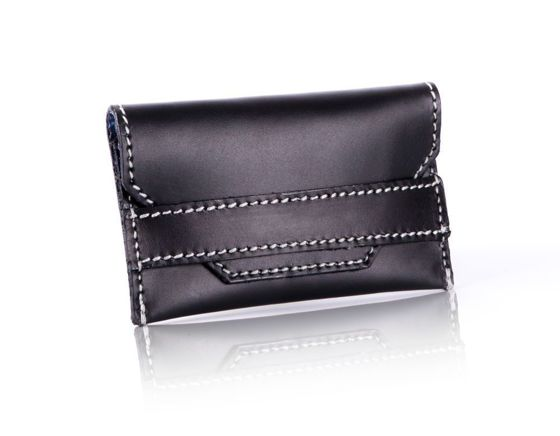 Slim leather men's card holder Solier SW19 black vintage