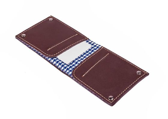 Slim leather men's card holder Solier SW21 dark brown vintage