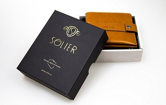 Slim leather men's wallet card holder SOLIER SA13