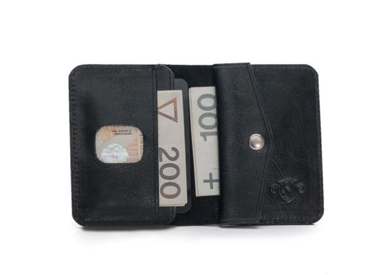 Slim leather men's wallet with coin holder SOLIER SW16 SLIM BLACK
