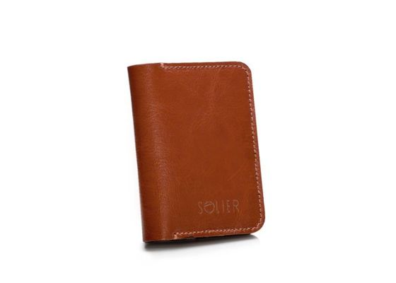 Slim leather men's wallet with coin holder SOLIER SW16 SLIM BROWN