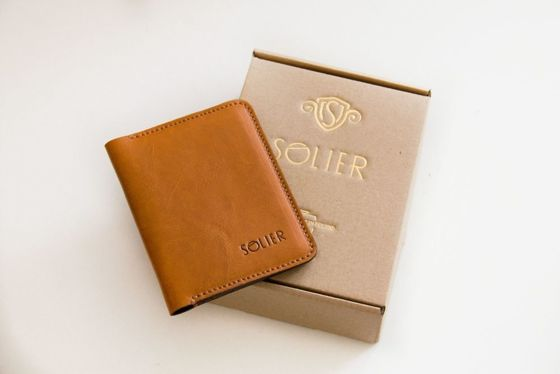 Slim leather men's wallet with coin holder SOLIER SW16 SLIM LIGHT BROWN