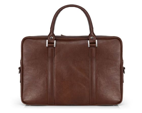 Vegetable tanned laptop bag Solier SL25 Harvey dark brown