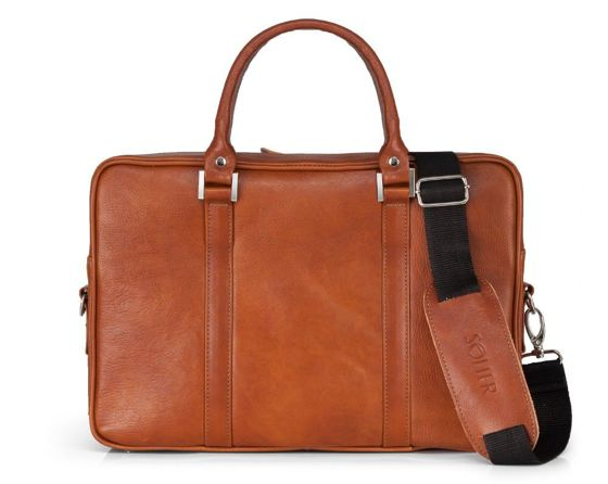 Vegetable tanned leather laptop bag Solier SL25 Harvey vintage brown