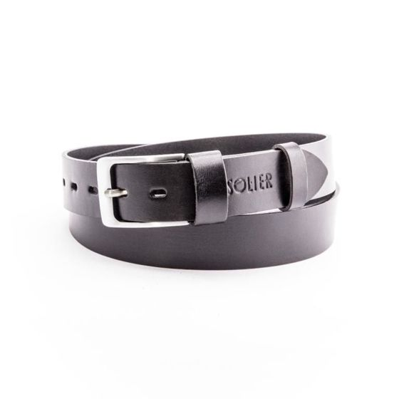 Elegant black leather belt SOLIER SB11