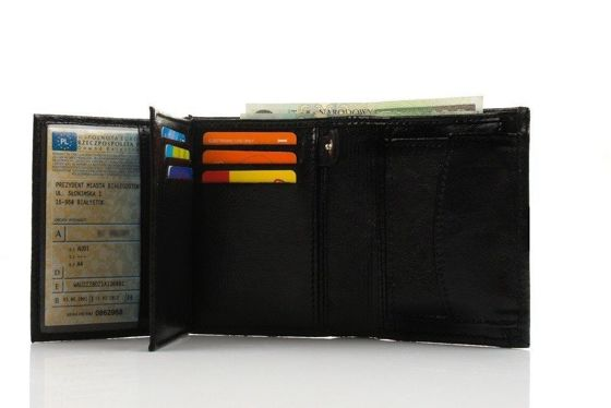 Elegant black leather wallet SOLIER SW01B