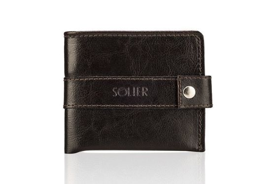 Elegant black leather wallet SOLIER SW05