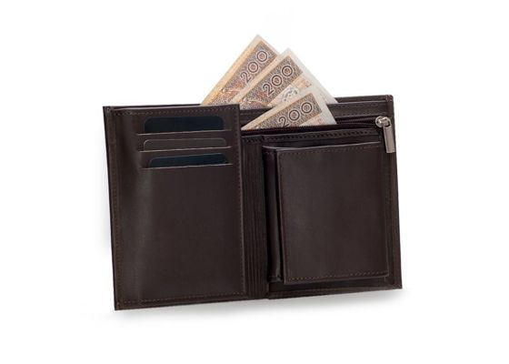 Elegant brown leather wallet SOLIER SW08