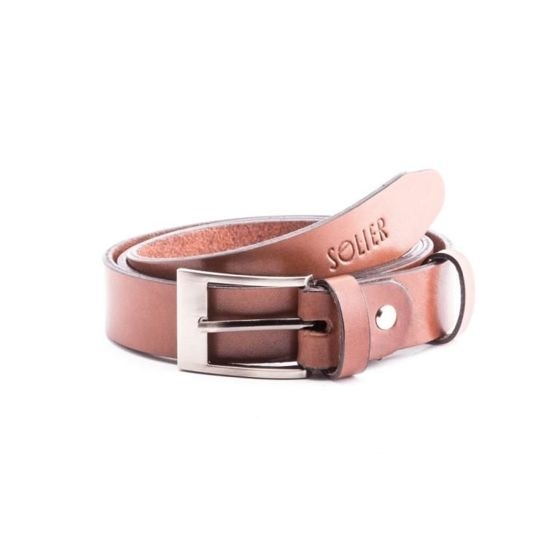 Elegant light brown leather belt SOLIER SB11