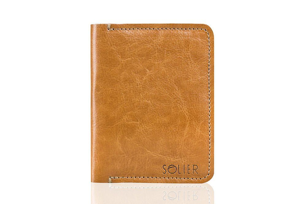 e60629f063f0d Cienki skórzany męski portfel SOLIER SW10 SLIM JASNY BRĄZ Kliknij