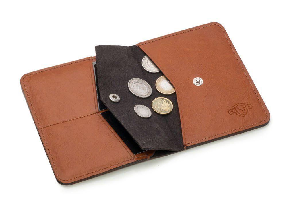 b6e0b13a4cf41 Cienki skórzany męski portfel z bilonówką SOLIER SW15 SLIM JASNY ...