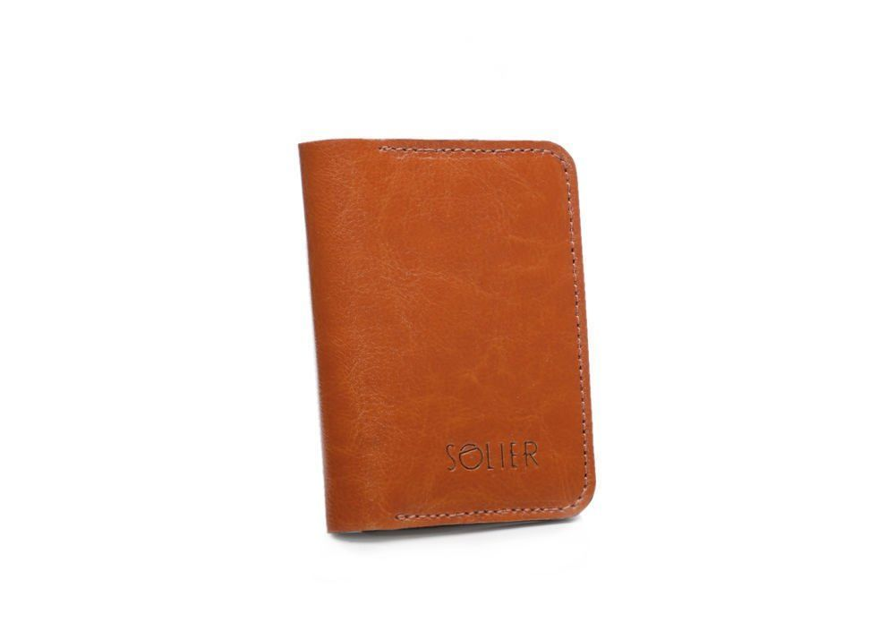 b29081993bdc3 Cienki skórzany męski portfel z bilonówką SOLIER SW16 SLIM JASNY ...