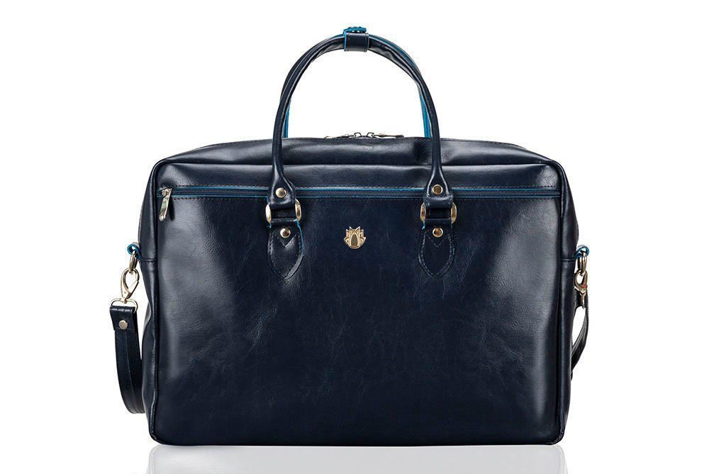 53954e2cc3a5a ... Damska skórzana torba na laptopa Marina granatowa Kliknij