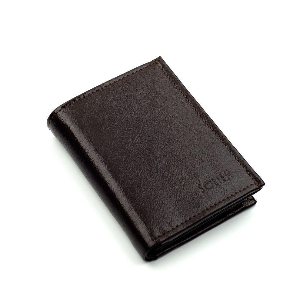 9d612dc3dd68a Elegancki brązowy skórzany męski portfel SOLIER SW01B Kliknij
