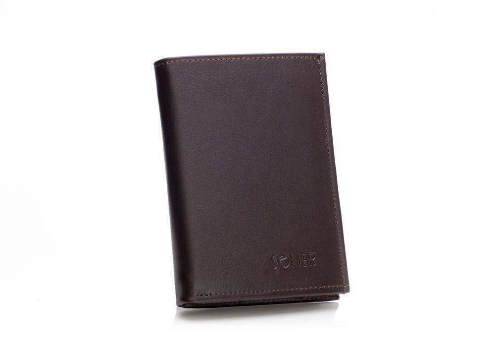 1b8d13afccc9d Elegancki brązowy skórzany męski portfel SOLIER SW08 Kliknij, aby  powiększyć ...