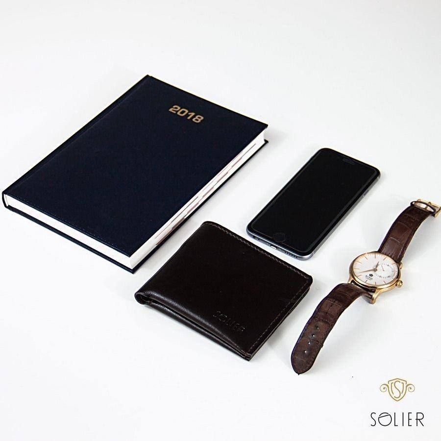 5aa21ae4e31e2 Elegancki czarny skórzany męski portfel SOLIER SW05