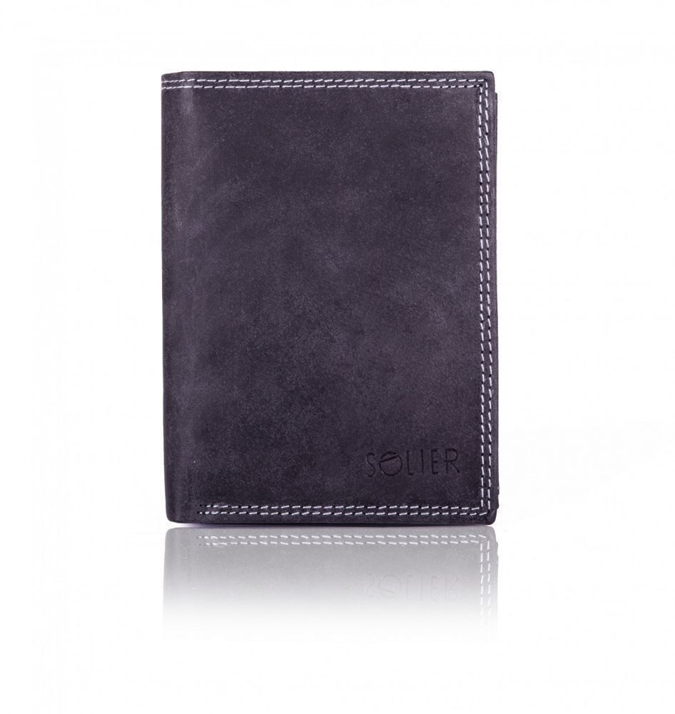 458d440763908 Elegancki skórzany męski portfel SOLIER SW22 CZARNY Kliknij, aby powiększyć  ...