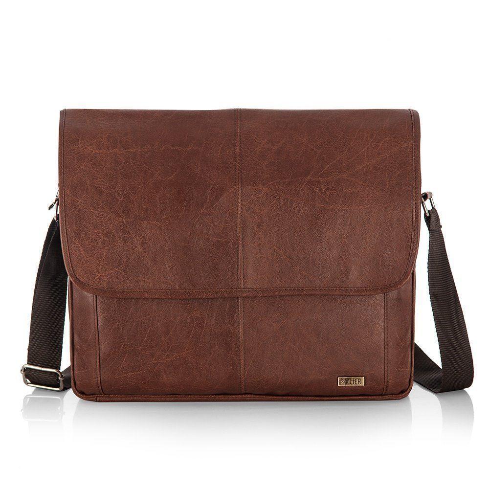 7e45844c8af66 Męska brązowa miejska torba na ramię Solier S15 Kliknij