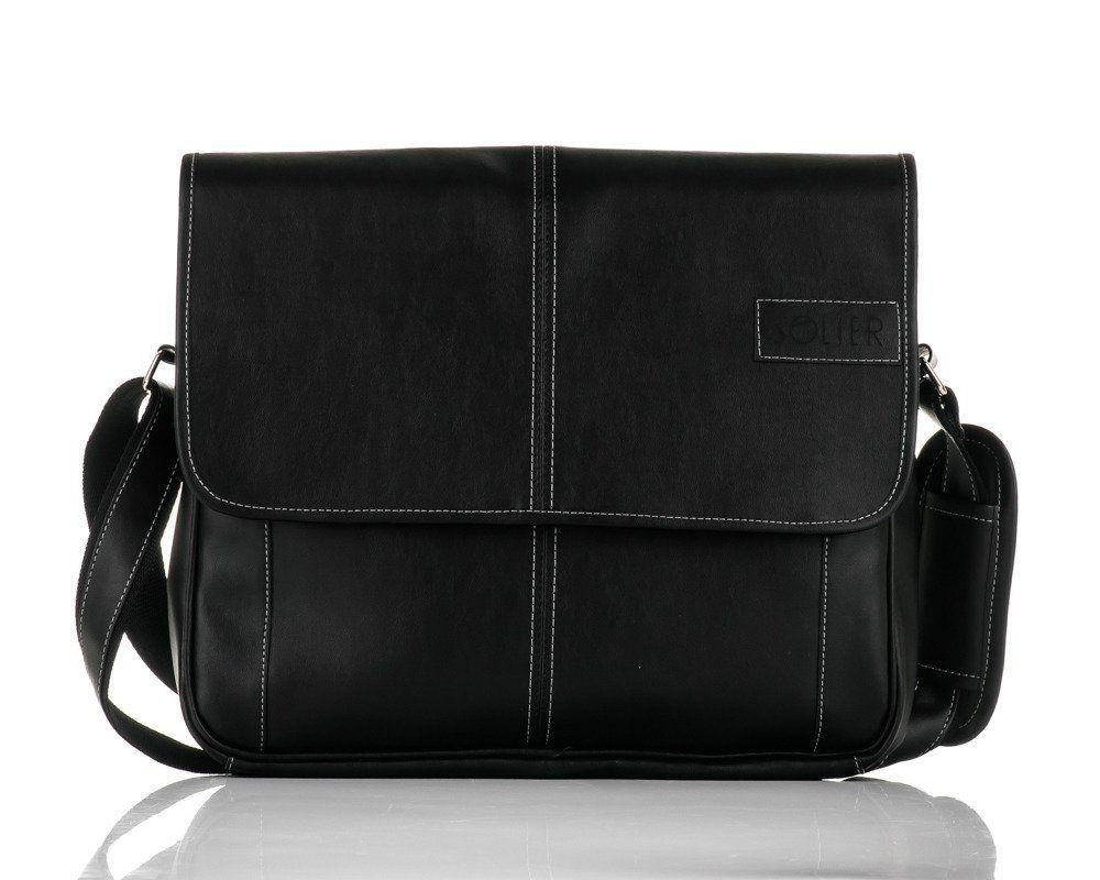 2edf4c71b0ac9 Męska czarna miejska torba na ramię Solier S15   sklep.solier.pl