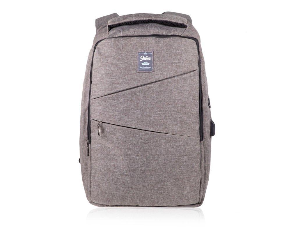 525bffcb49744 Plecak miejski antykradzieżowy na laptopa Solier SV03 szary Kliknij, aby  powiększyć ...